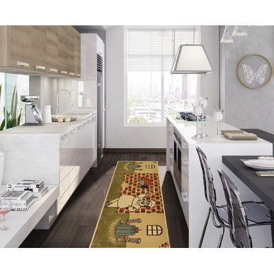 Saras Kitchen Beige Area Rug Rug Size: Runner 18 x 411
