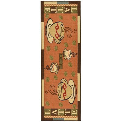Saras Kitchen Dark Orange Area Rug Rug Size: Runner 18 x 411