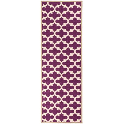 Pink Contemporary Purple Moroccan Trellis Area Rug Rug Size: Runner 2 x 6