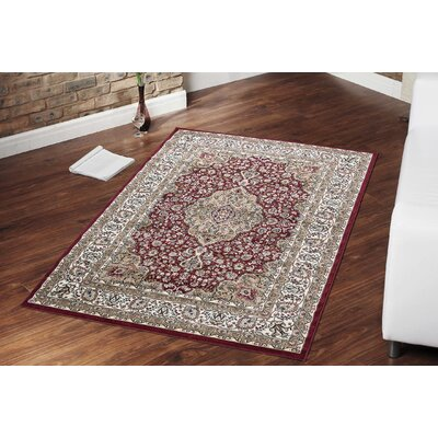 Regal Traditional Medallion Red Area Rug Rug Size: 53 x 77