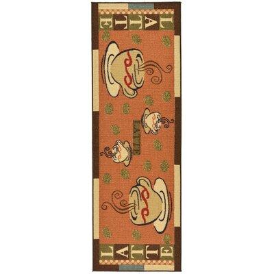 Saras Kitchen Dark Orange Area Rug Rug Size: Runner 110 x 7