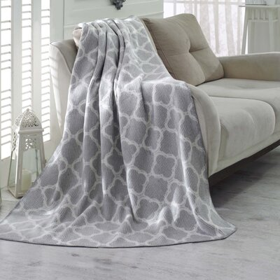 Waffle Reversible Fleece Blanket Color: Grey