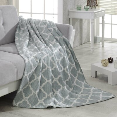 Waffle Reversible Fleece Blanket Color: Sage Green