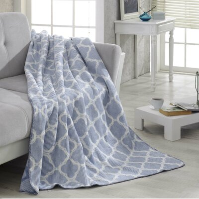 Waffle Reversible Fleece Blanket Color: Light Blue