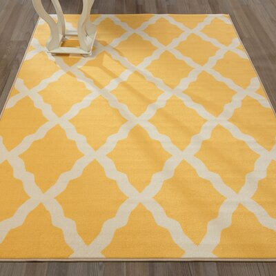 Pink Contemporary Yellow Moroccan Trellis Area Rug Rug Size: 33 x 5