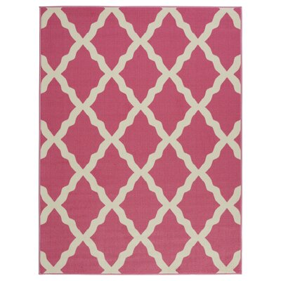 Glamour Machine Woven Hot Pink Area Rug Rug Size: 5 x 7