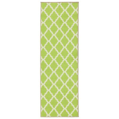 Staunton Lime Green/Ivory Area Rug Rug Size: Runner 18 x 411