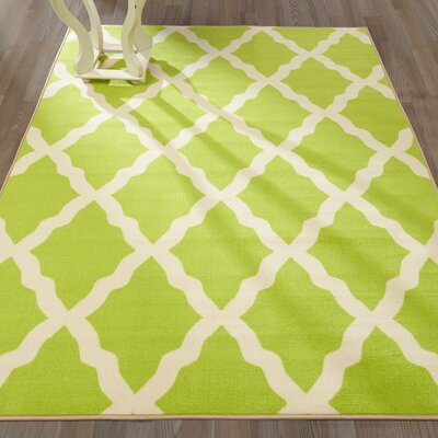 Staunton Machine Woven Green Area Rug