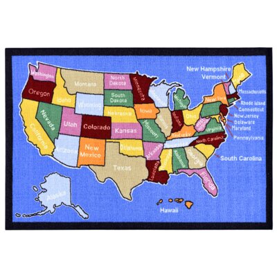 Childrens American Map Blue Area Rug Rug Size: 82 x 910
