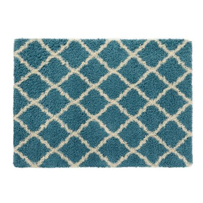 Ultimate Moroccan Trellis Soft Turquoise Shaggy Area Rug Rug Size: 710 x 910