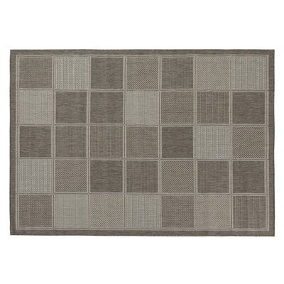 Jardin Contemporary Boxes Design Gray Outdoor Area Rug Rug Size: 31 x 53