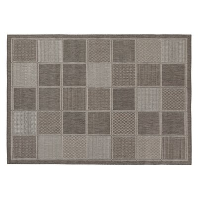 Goodhue Contemporary Boxes Design Gray Outdoor Area Rug Rug Size: 53 x 73
