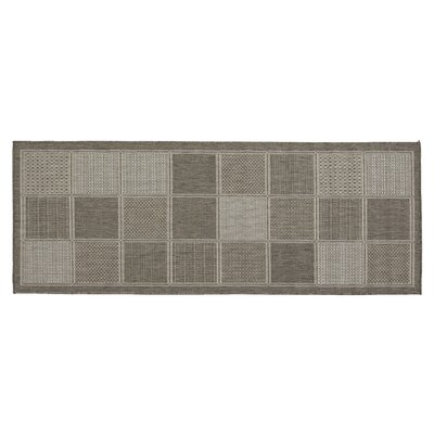 Jardin Contemporary Boxes Design Gray Outdoor Area Rug Rug Size: Runner 27 x 7