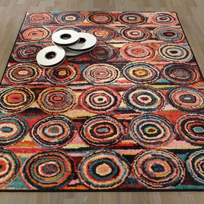 Heier  Black/Yellow/Aqua Blue/Ivory/Red Area Rug Rug Size: 33 x 411