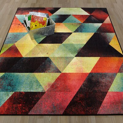 Heier Blue/Orange/Pink Area Rug Rug Size: 33 x 411