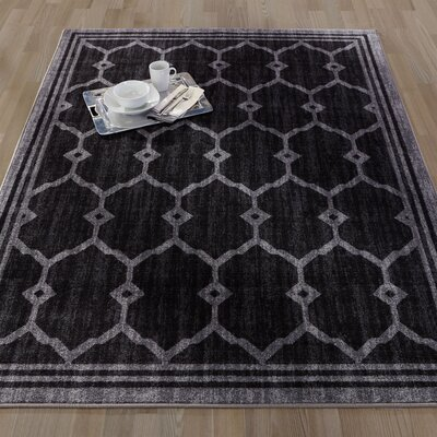 Authentic Black Area Rug Rug Size: Runner 18 x 411