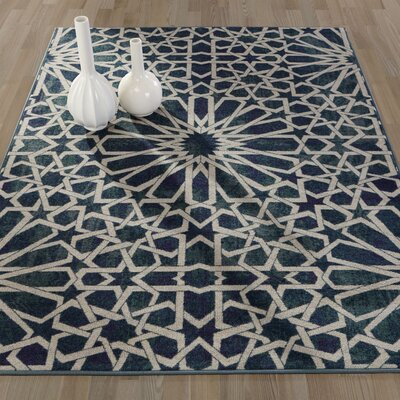 Authentic Blue Area Rug Rug Size: 5 x 66