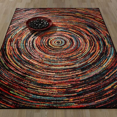 Heier Black/Red/Blue Area Rug Rug Size: 33 x 411