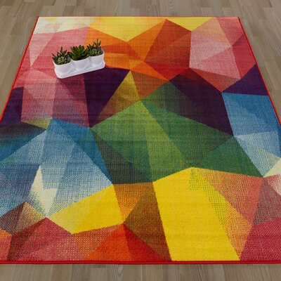 Heier Red/Yellow/Blue Area Rug Rug Size: 33 x 411
