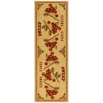 Siesta Kitchen Fruits Design Non-Slip Beige Area Rug