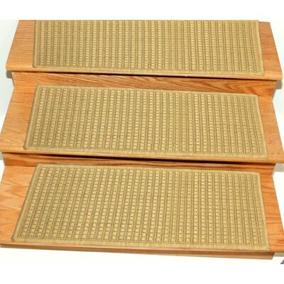 Lammers Jute Back Indoor and Outdoor Carpet Beige Stair Tread Quantity: Set of 14