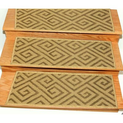 Jardin Jute Back Indoor and Outdoor Carpet Camel Stair Tread Quantity: Set of 7