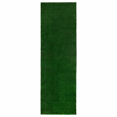 Tamera Artificial Grass Turf Solid Design Green Indoor/Outdoor Area Rug Rug Size: Runner 30 x 73