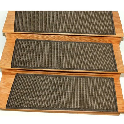 Lammers Jute Back Indoor/Outdoor Carpet Dark Gray Stair Tread Quantity: Set of 14