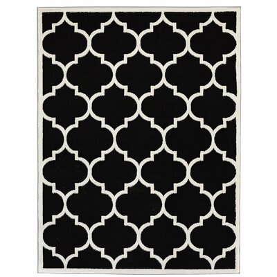 Standridge Moroccan Trellis Design Black/White Area Rug Rug Size: 710 x 910