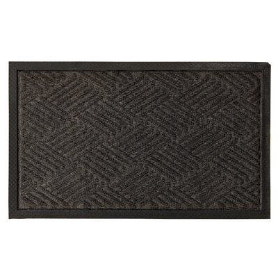 Carpeted Rubber Outdoor Doormat Color: Silver, Rug Size: 16 x 26