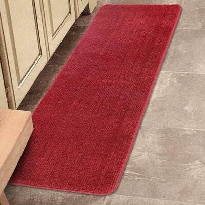 Carreras Non Slip Bath Rug Size: 26 x 72, Color: Red