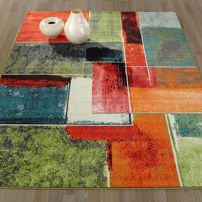 Heier Red/Green/Yellow Area Rug Rug Size: Runner 18 x 411
