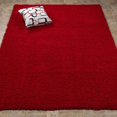 Ultimate Shaggy Red Solid Area Rug Rug Size: Rectangle 53 x 7