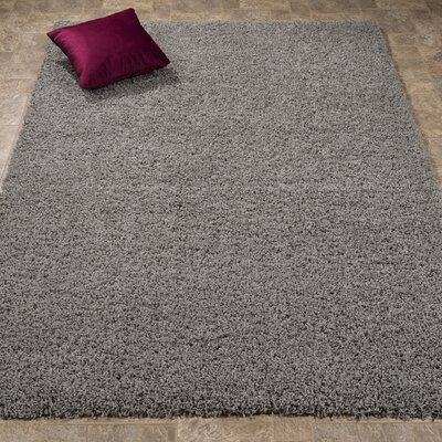 Maywood Ultimate Shaggy Gray Solid Area Rug Rug Size: 67 x 93