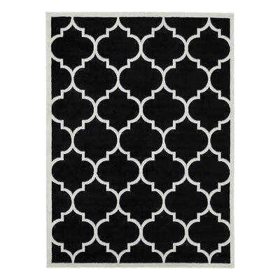 Standridge Moroccan Trellis Design Black/White Area Rug Rug Size: Rectangle 53 x 7