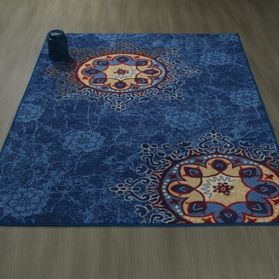 Rocio Floral Blue Area Rug Rug Size: 5 x 6
