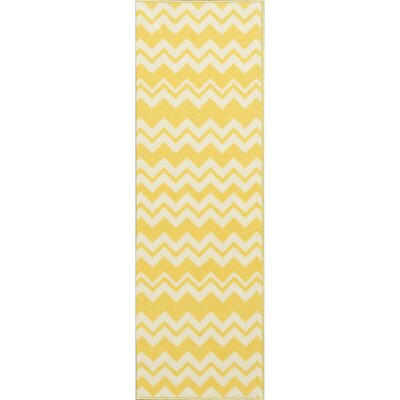 Barry Chevron Waves Yellow Area Rug Rug Size: Runner 18 x 411
