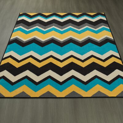 Claren Chevron Waves Blue/Yellow Area Rug Rug Size: 82 x 910