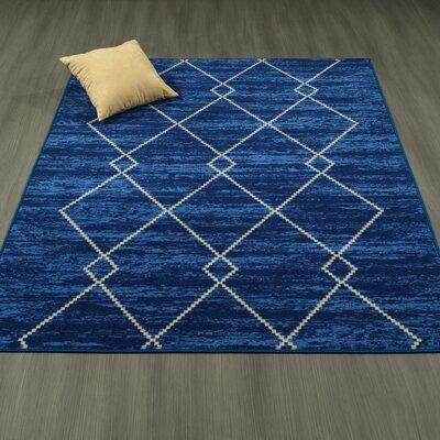 Heikkinen Diamond Trellis Blue Area Rug Rug Size: 33 x 5