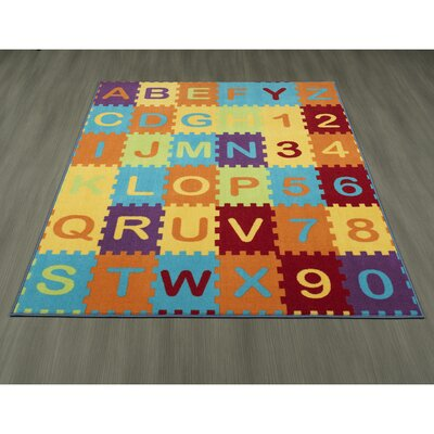 Childrens Garden Puzzle Educational Alphabet Area Rug Size: 0.3 H x 98 W x 118 D