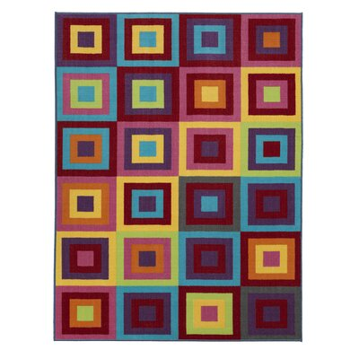 Regan Non-Slip Modern Geometric Red/Purple/Yellow Area Rug Rug Size: 5 x 66