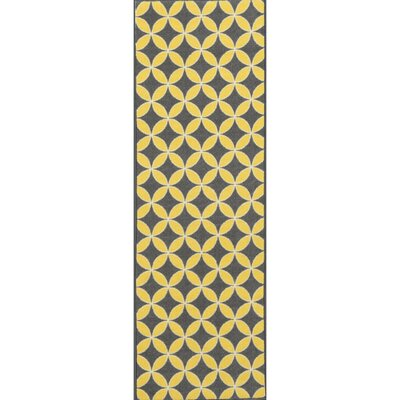 Vathylakas Star Trellis Gray/Yellow Area Rug Rug Size: Runner 18 x 411