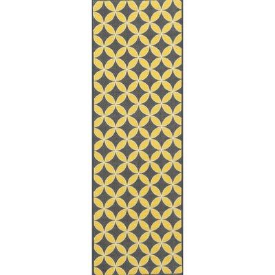 Vathylakas Star Trellis Gray/Yellow Area Rug Rug Size: Runner 1'8