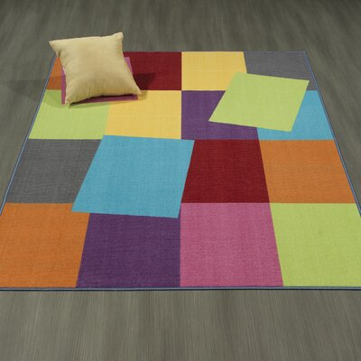 Regan Non-Slip Modern Geometric Rectangle Yellow/Purple/Lime Area Rug Rug Size: 5 x 66