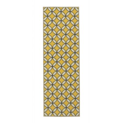Vathylakas Star Trellis Yellow/Gray Area Rug Rug Size: Runner 18 x 411