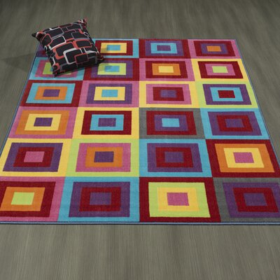 Regan Non-Slip Modern Geometric Red/Purple/Yellow Area Rug Rug Size: 33 x 47