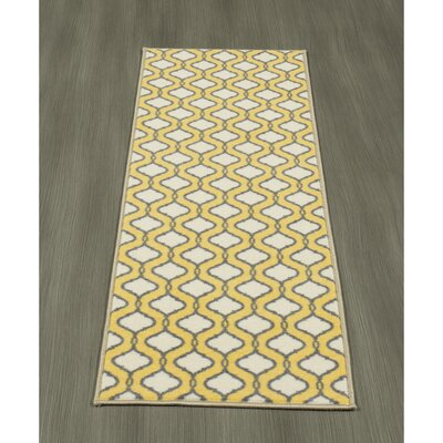 Heikkinen Trellis Yellow/Cream Area Rug Rug Size: Runner 18 x 411