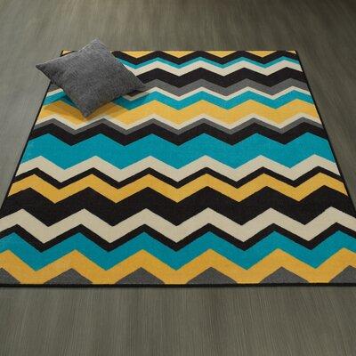 Claren Chevron Waves Blue/Yellow Area Rug Rug Size: 33 x 5
