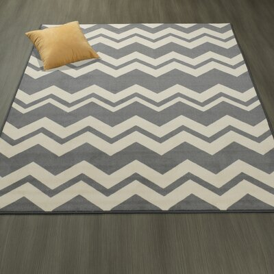 Claren Chevron Waves Gray/Cream Area Rug Rug Size: 5 x 6