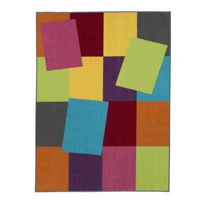 Regan Non-Slip Modern Geometric Rectangle Yellow/Purple/Lime Area Rug Rug Size: 33 x 47